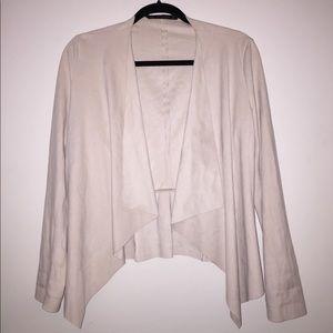 Zara Suede-Effect Thin Draped Jacket/Blazer